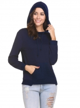 Navy blue Women Casual Hooded Long Sleeve Mesh Trimmed Pullover Hoodie Sweatshirt Tops