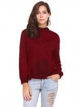 Wine red Women Casual Hooded Long Sleeve Mesh Trimmed Pullover Hoodie Sweatshirt Tops