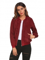 Wine red Women Casual Stand Collar Long Sleeve Regular Fit Thread Hem and Cuffs Basic Jacket Outwear
