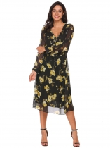 Black Long Sleeve Ruffles Floral Chiffon Dress