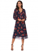 Navy blue Long Sleeve Ruffles Floral Chiffon Dress