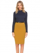 Dark blue Women Stand Collar Long Sleeve Patchwork OL Party Pencil Dress with Belt