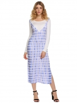 Blue Long Sleeve Split Print Dress