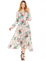 White Long Sleeve Hollow Floral Maxi Dress