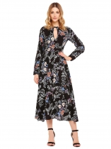 Black Long Sleeve Hollow Floral Maxi Dress
