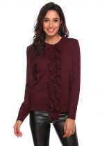 Wine red Doll Collar Long Sleeve Solid Ruffle Sweater