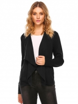 Black Wide Lapel Long Sleeve Open Front Solid Cardigan