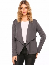 Dark gray Wide Lapel Long Sleeve Open Front Solid Cardigan