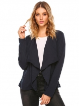 Navy blue Wide Lapel Long Sleeve Open Front Solid Cardigan