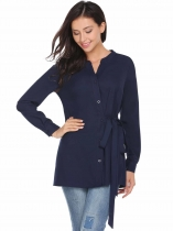 Dark blue Las mujeres de moda V-cuello manga larga sólida cintura Wrap Band Button Shirt