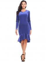 Violet Lint Long Sleeve V Neck Fishtail Fitted Cocktail Bodycon Dress