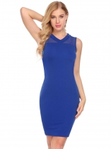 Royal Blue Women Elegant V-Neck Sleeveless Mesh Patchwork Slim Fit Bodycon Dress