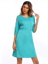 Green O Neck Cold Shoulder Half Sleeve Slim Waist Dress