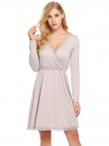 Grey Women Casual Crossing V-Neck Long Sleeve Elastic Waist A-Line Pleated Sexy Dress