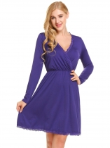 Purple Women Casual Crossing V-Neck Long Sleeve Elastic Waist A-Line Pleated Sexy Dress