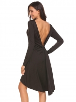 Black Women Long Sleeve Twist Knot Back Backless Asymmetrical Hem Solid Going Out Dress