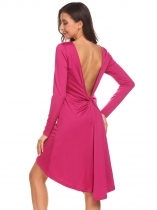 Rose red Women Long Sleeve Twist Knot Back Backless Asymmetrical Hem Solid Going Out Dress