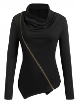 Black Irregular Stand Collar Long Sleeve Front Zipper Solid Jacket