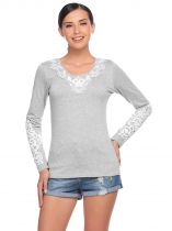 Light gray Lace Applique V-Neck Long Sleeve Slim Tops