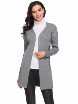 Light gray Women Casual Front Open V-Neck Long Sleeve Patchwork Knitted Cardigan