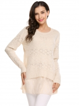 Beige Long Sleeve O Neck Lace Patchwork Slim Crochet Tops