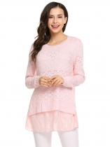 Pink Long Sleeve O Neck Lace Patchwork Slim Crochet Tops
