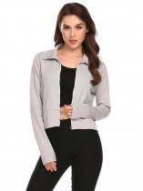 Light gray Women Turtleneck Long Sleeve Full Zip Patchwork Slim Fit Short Casual Jacket
