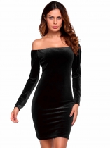 Noir Long Sleeve Solid Off the Shoulder Longueur du genou Lint Bodycon Velvet Cockatail Dress