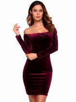 Wine red Long Sleeve Solid Off the Shoulder Longueur du genou Lint Bodycon Velvet Cockatail Dress