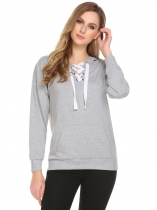 Light gray Women Casual Hooded Long Sleeve Solid Crossing Straps Thread Hem and Cuffs Hoodie