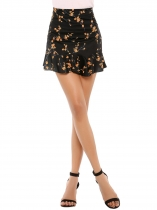 Black Ruffle Hem Printed High Waist Skirt