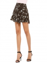 Coffee Ruffle Hem Printed High Waist Skirt