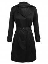 Black Women Casual Hooded Long Sleeve Solid Heritage Trench Coat