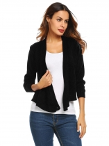 Black Long Sleeve Knitted Solid Cross Front Cropped Cardigan