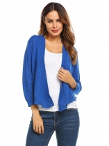 Royal Blue Long Sleeve Knitted Solid Cross Front Cropped Cardigan