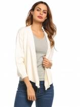 White Long Sleeve Knitted Solid Cross Front Cropped Cardigan
