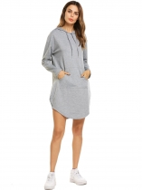 Gray Long Sleeve Sports Hoodie Dress With Pockets