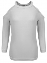 Light gray Plus Size Long Sleeve Cold Shoulder Pullover Sweatshirts
