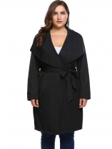 Black PPlus Size Long Sleeve Solid Coat Trench Jacket