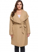 Khaki PPlus Size Long Sleeve Solid Coat Trench Jacket