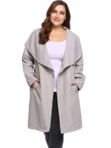 Grey PPlus Size Long Sleeve Solid Coat Trench Jacket