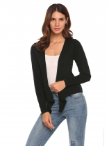 Black Long Sleeve Solid Knit Cropped Cardigan