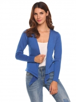 Blue Long Sleeve Solid Knit Cropped Cardigan