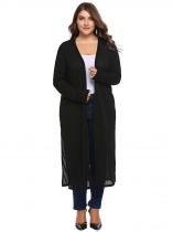 Black Long Sleeve Solid Open Front Knit Casual Cardigan