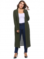 Dark green Long Sleeve Solid Open Front Knit Casual Cardigan