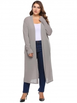 Dark gray Long Sleeve Solid Open Front Knit Casual Cardigan