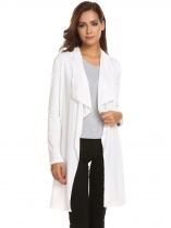 White Women Casual Long Sleeve Draped Open Front Cardigan
