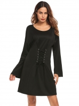 Black Women Casual O-Neck Long Sleeve Solid Front Lace Up Loose A-Line Dress