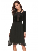 Black Women Casual O-Neck Long Sleeve Patchwork Cold the Shoulder Velvet A-Line Pleated Sexy Dress