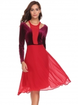 Red Women Casual O-Neck Long Sleeve Patchwork Cold the Shoulder Velvet A-Line Pleated Sexy Dress